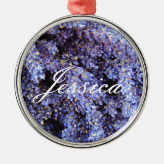 Customizable Lavender Silver-Colored Round Decoration