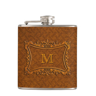 Customizable Leather Monogram Hip Flask