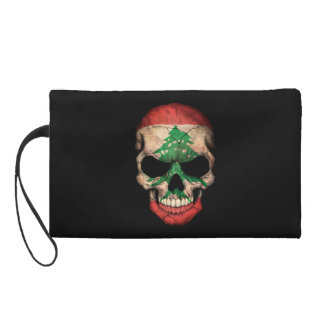 Customizable Lebanese Flag Skull Wristlet Purses