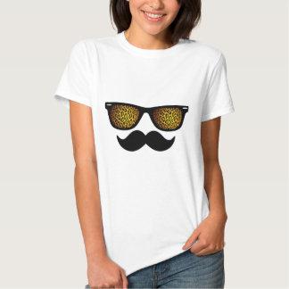 Customizable Leopard Wayfarer Mustache Design Shirts