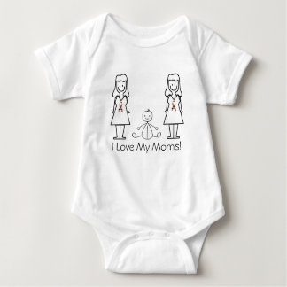 Customizable LGBT 2 Moms & Baby Baby Bodysuit
