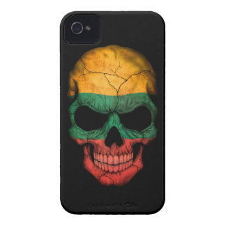 Customizable Lithuanian Flag Skull Case-Mate iPhone 4 Cases