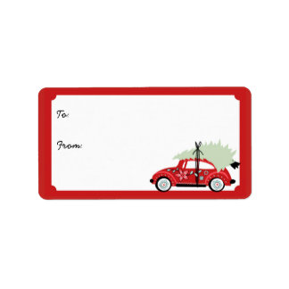 Customizable Love Bug Holiday Gift Labels