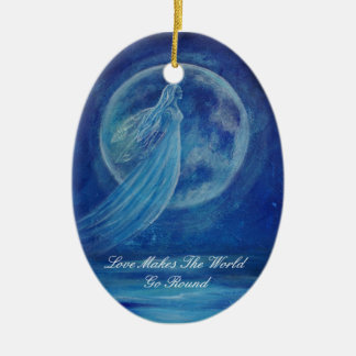 Customizable Love Makes The World Go Round Angel O Double-Sided Oval Ceramic Christmas Ornament