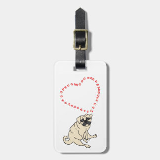 Customizable Love Pug Luggage Tag