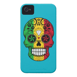 Customizable Mali Flag Sugar Skull with Roses iPhone 4 Cover