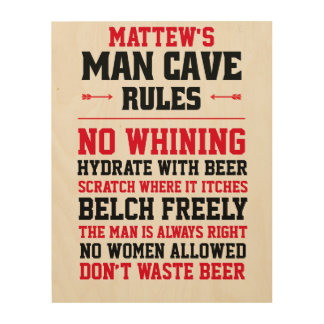 Customizable Man Cave Rules Wood Wall Decor
