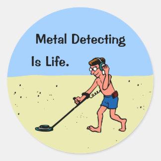 Customizable Man Metal Detecting On Beach Round Stickers