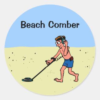 Customizable Man Metal Detecting On Beach Round Sticker