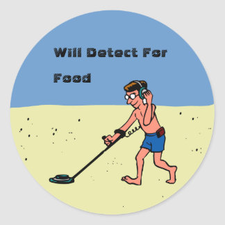 Customizable Man Metal Detecting On Beach Stickers
