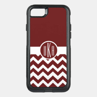 Customizable Maroon and White Monogram OtterBox Commuter iPhone 8/7 Case