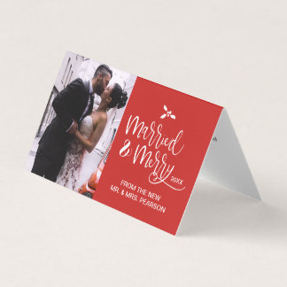 Customizable, Married and Merry, Christmas, Script Card