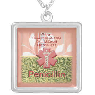☤Customizable Medical Alert Silver Plated Necklace