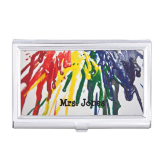 Customizable melted crayons business card holder