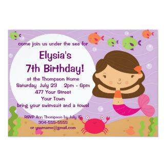 Customizable Mermaid Birthday Party 13 Cm X 18 Cm Invitation Card