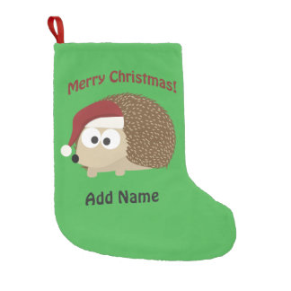 Customizable Merry Christmas hedgehog Small Christmas Stocking
