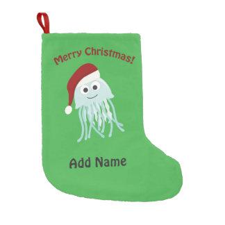 Customizable Merry Christmas Jellyfish Small Christmas Stocking