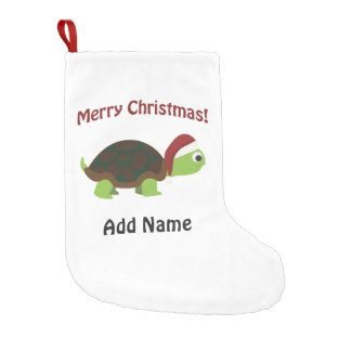 Customizable Merry Christmas Turtle Small Christmas Stocking