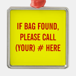 Customizable Metal Luggage Tag - If Bag Found, Cal Silver-Colored Square Decoration