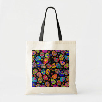 Customizable Mexican Folk Art Sugar Skulls Budget Tote Bag