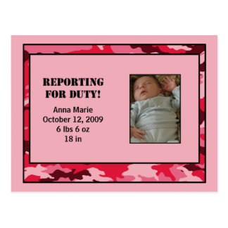 Customizable Military Birth Announcement - Girl Postcard