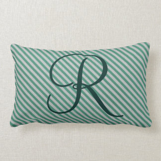 Customizable Mint Green Striped Initial Monogram Lumbar Pillow