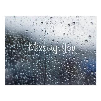 Customizable Missing You Rain Postcard