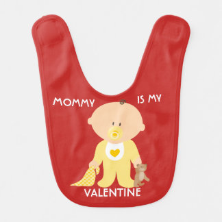 Customizable Mommy Is My Valentine Baby Bib