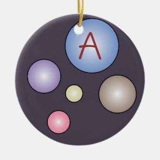 Customizable Monogram Colorful Bubbles Ornament