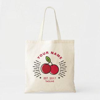 Customizable. Monogram. Cute Fruit Cherries.