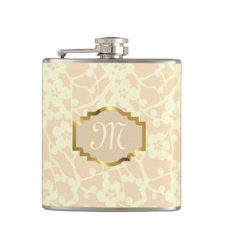 Customizable monogram Flask, pastel yellow, ochre Hip Flask