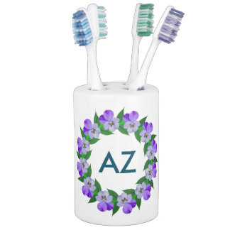 Customizable Monogram on Soap Dispenser And Toothbrush Holder