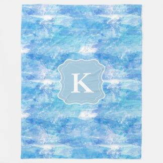 Customizable Monogram Watercolor, Ocean Blue Fleece Blanket