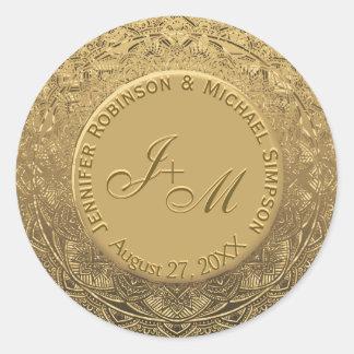 Customizable Monogram Wedding Seal Round Sticker