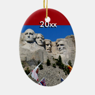 Customizable Mt Rushmore Souvenir Ceramic Oval Decoration