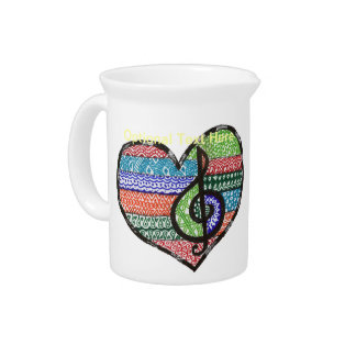 Customizable Music Heart Treble Clef Doodle Pitcher