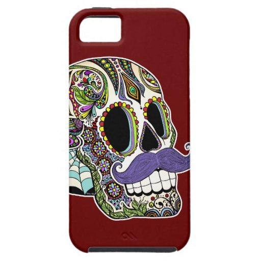 Customizable Mustache Sugar Skull Phone Case iPhone 5 Case
