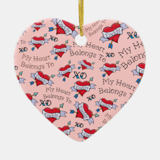 Customizable My Heart Belongs to Daddy Ceramic Heart Decoration