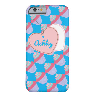 Customizable Name Blue and Pink Cupcake iPhone 6 Barely There iPhone 6 Case