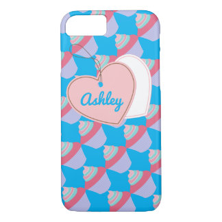 Customizable Name Blue and Pink Cupcake iPhone 7 iPhone 7 Case