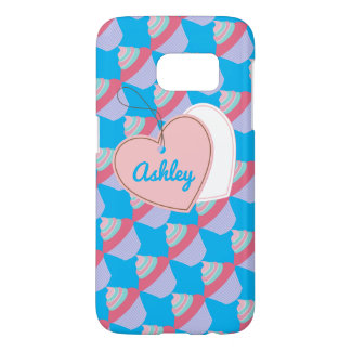 Customizable Name Blue and Pink Cupcake SG7 Case