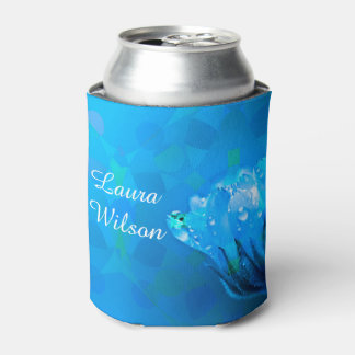 Customizable  Name Blue Rose Can Cooler