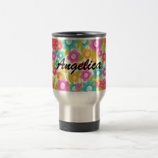 Customizable Name Butterfly and Flowers Stainless Steel Travel Mug