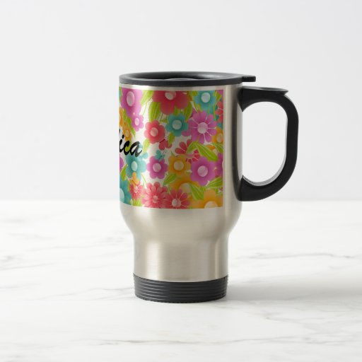 Customizable Name Butterfly and flowers Travel mug