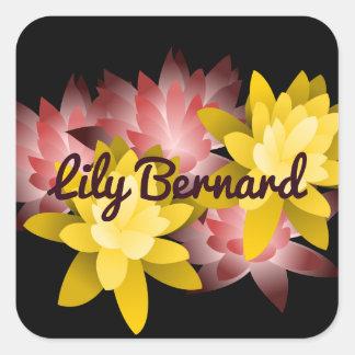 Customizable Name Lotus Illustration Square Sticker