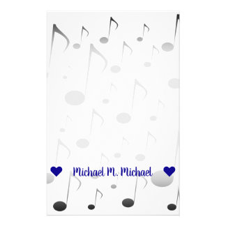 Customizable Name; Many Musical Notes Pattern Stationery