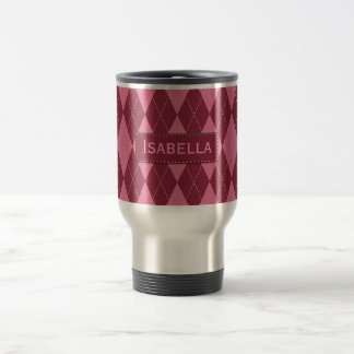 Customizable Name Pink Argyle Travel Mug