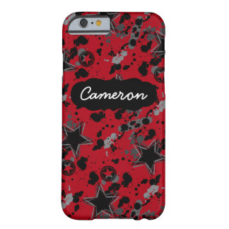 Customizable Name Red Black Grunge Star iPhone 6 Barely There iPhone 6 Case