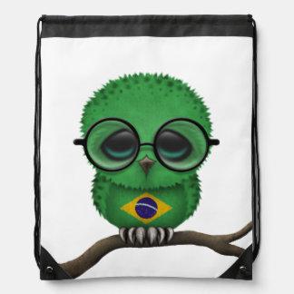 Customizable Nerdy Brazilian Baby Owl Chic Drawstring Bag