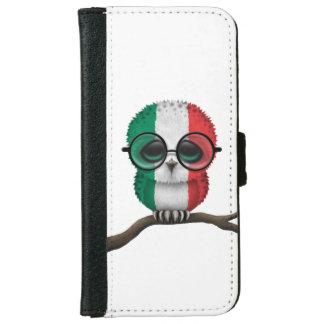 Customizable Nerdy Italian Baby Owl Chic iPhone 6 Wallet Case